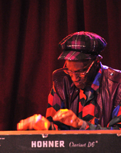 "Photo by Andrew Hurlbut of Bernie Worrell '67 performing at an NEC ""Jazz40"" concert at B.B. King's in New York, March 2010."